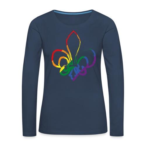 Pinselstrich Lilie Regebogenfahne - Frauen Premium Langarmshirt