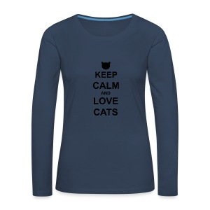 Keep Calm and Love Cats - Black - Women's Premium Longsleeve Shirt