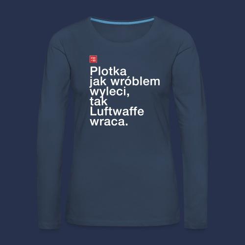 plotka - napis jasny - Koszulka damska Premium z długim rękawem