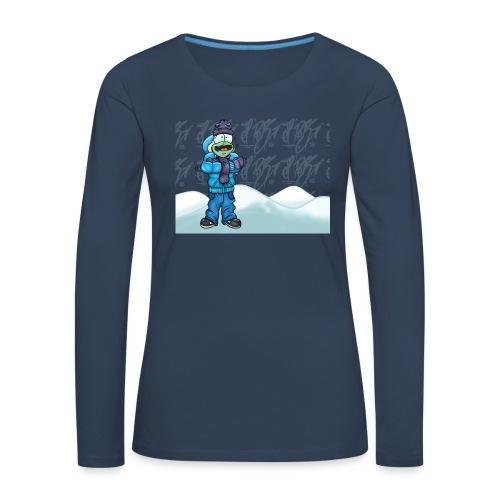 Freezing Turtle Snowboarder/Frierender Snowboarder - Frauen Premium Langarmshirt