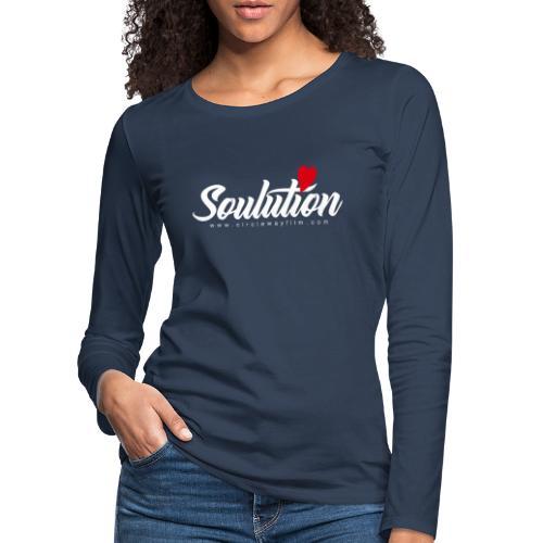 Soulution Logo – weiß - Frauen Premium Langarmshirt