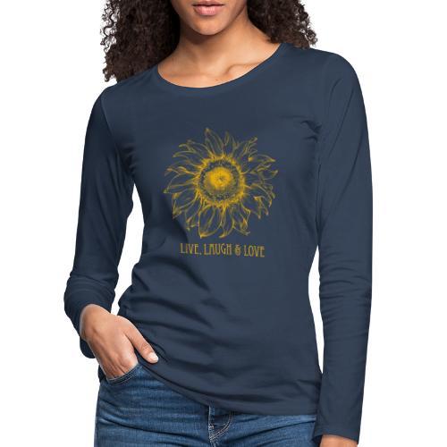 Sonnenblume Zeichnung - Frauen Premium Langarmshirt