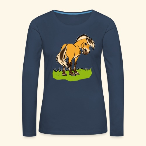 Freundliches Fjordpferd (Ohne Text) Weisse Umrisse - T-shirt manches longues Premium Femme