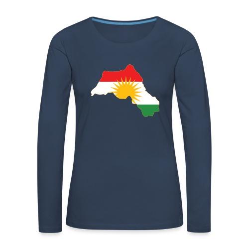 Kurdistan Flag Map - Frauen Premium Langarmshirt