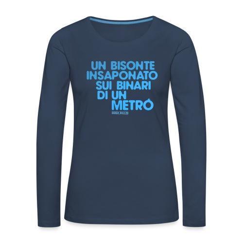 Un bisonte insaponato sui binari di un metrò. - Maglietta Premium a manica lunga da donna