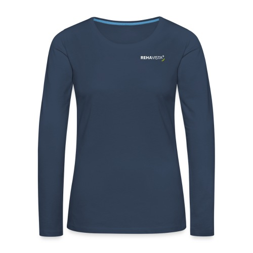 rehavista-logo-weiss-grue - Frauen Premium Langarmshirt