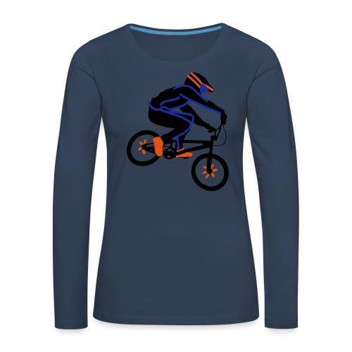 BMX Rider Dark - Vrouwen Premium shirt met lange mouwen