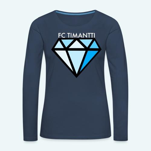 FCTimantti logo valkteksti futura - Naisten premium pitkähihainen t-paita