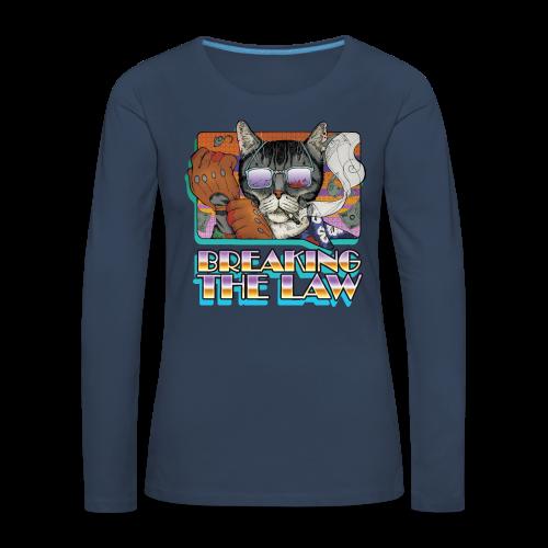 Crime Cat in Shades - Braking the Law - Koszulka damska Premium z długim rękawem