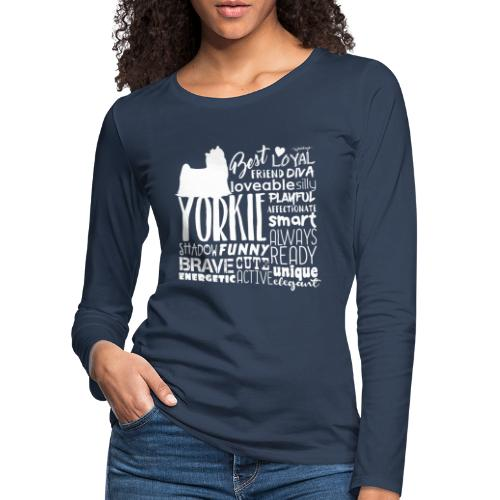 Yorkshire Terrier Words W - Naisten premium pitkähihainen t-paita