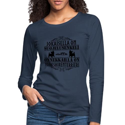 Yorkshirenterrieri Enkeli 5 - Naisten premium pitkähihainen t-paita