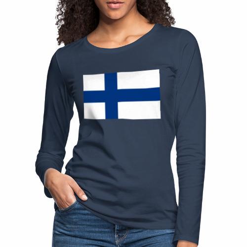 Suomenlippu - tuoteperhe - Naisten premium pitkähihainen t-paita