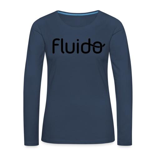 fluidologo_musta - Naisten premium pitkähihainen t-paita
