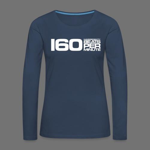 160 BPM (hvid lang) - Dame premium T-shirt med lange ærmer