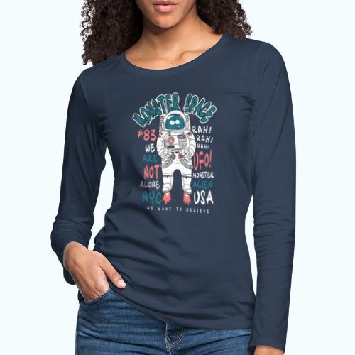 Little Monster In Space 80s Retro - Women's Premium Longsleeve Shirt