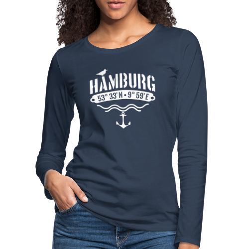 Hamburg Koordinaten Anker Möwe Längengrad - Frauen Premium Langarmshirt
