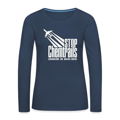 STOP CHEMTRAILS - white print - Vrouwen Premium shirt met lange mouwen