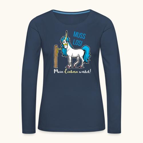 Dessin drôle de licorne disant bande dessinée cadeau - T-shirt manches longues Premium Femme