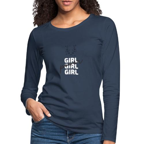 girl power t shirt design - Camiseta de manga larga premium mujer