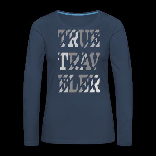 True Traveler Grey design - Naisten premium pitkähihainen t-paita