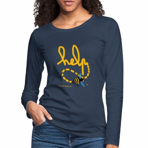 Help abeille texte jaune - T-shirt manches longues Premium Femme