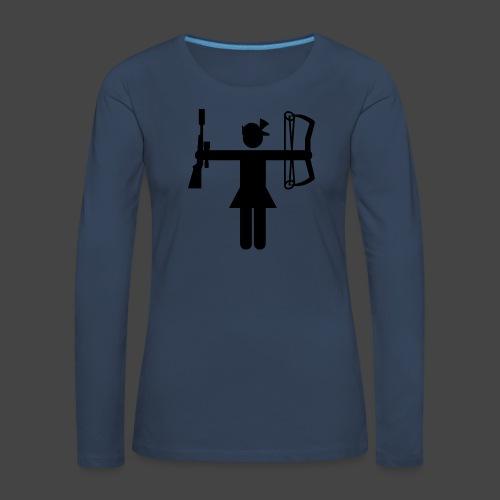 Universaljägerin in schwarz - Frauen Premium Langarmshirt