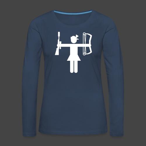 Universaljägerin in weiß - Frauen Premium Langarmshirt