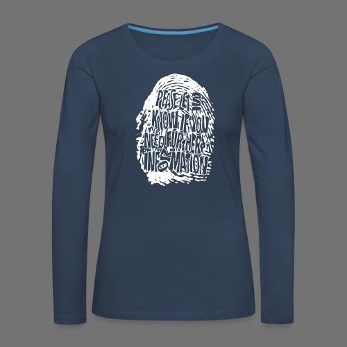 Fingerprint DNA (hvid) - Dame premium T-shirt med lange ærmer
