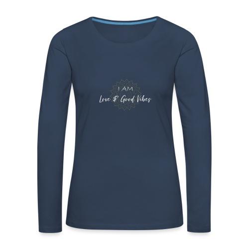I am love and good vibes white gold - Frauen Premium Langarmshirt