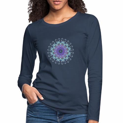 Lilla mandala pastel - Dame premium T-shirt med lange ærmer