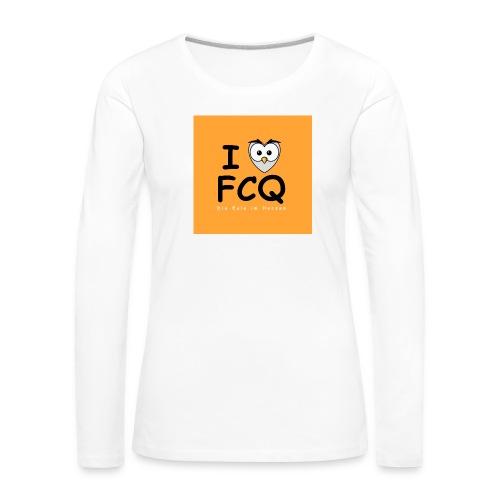 I Love FCQ button orange - Frauen Premium Langarmshirt
