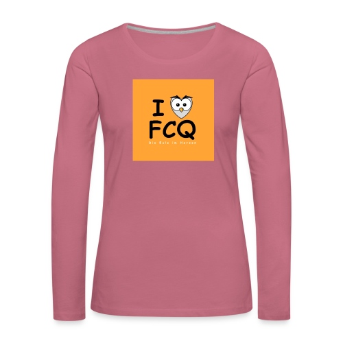 I Love FCQ button orange - Frauen Premium Langarmshirt