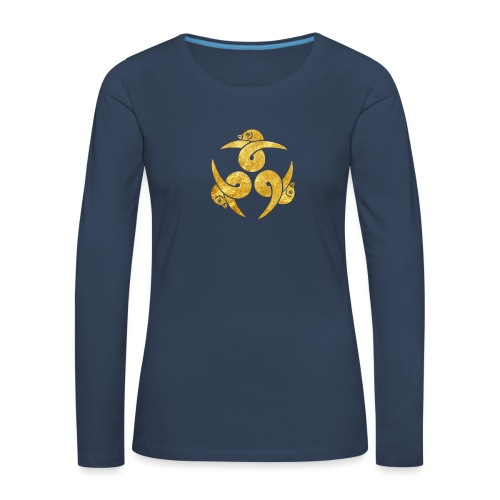 Three Geese Japanese Kamon in gold - Women's Premium Longsleeve Shirt