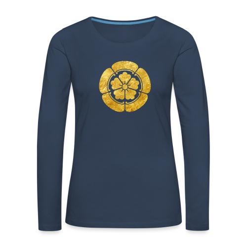 Oda Mon Japanese samurai clan faux gold on black - Women's Premium Longsleeve Shirt