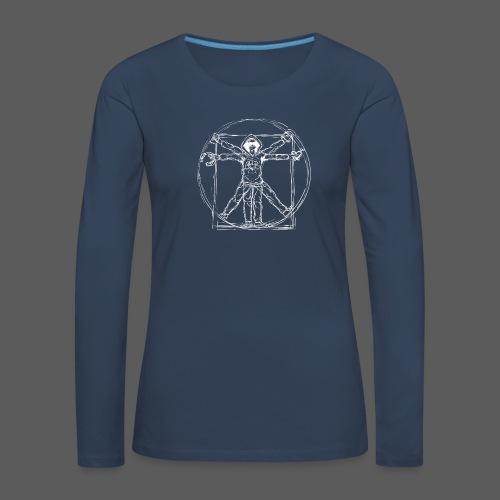 Vitruvian Gamer White Print - Frauen Premium Langarmshirt