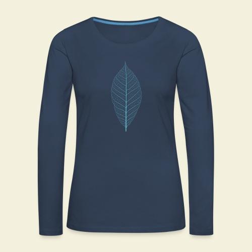 Feuille bleu Squelette - T-shirt manches longues Premium Femme