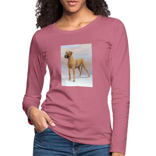 Great Dane Yellow - Dame premium T-shirt med lange ærmer