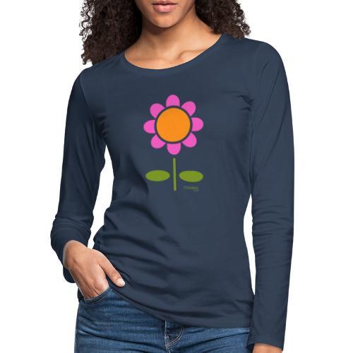 Retro flower - Naisten premium pitkähihainen t-paita