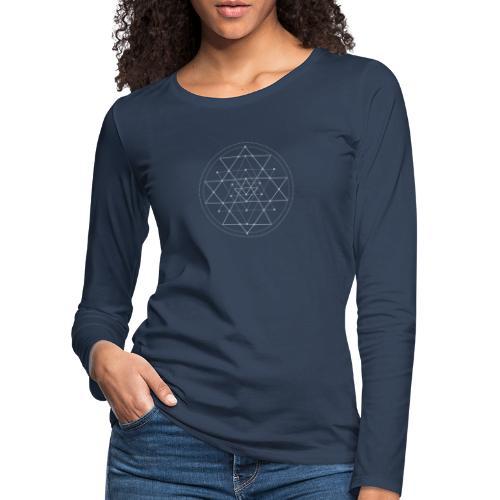 Harmaa geometrinen Shri Yantra -kuvio - Naisten premium pitkähihainen t-paita