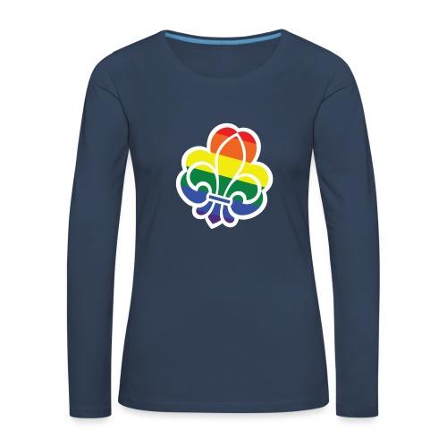 Regnbuespejder tilted - Dame premium T-shirt med lange ærmer