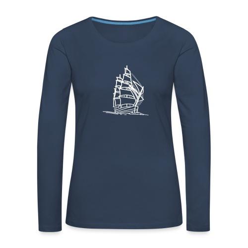 Segelschiff Illustration Meer Schiff Bootsfahrt - Frauen Premium Langarmshirt