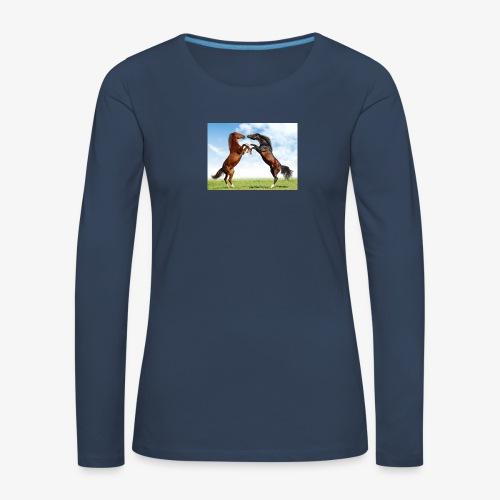 kaksi hevosta - Naisten premium pitkähihainen t-paita