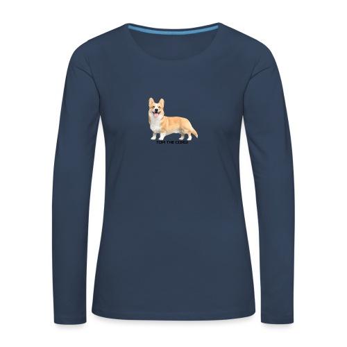 Topi the Corgi - Black text - Women's Premium Longsleeve Shirt