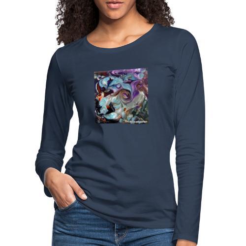 TIAN GREEN Welt Mosaik - AT028 Orchideengarten - Frauen Premium Langarmshirt