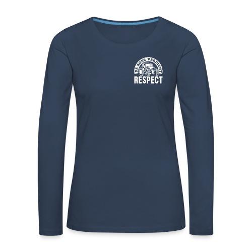 LOGO WIT DeBoerVerdientRespect png - Vrouwen Premium shirt met lange mouwen