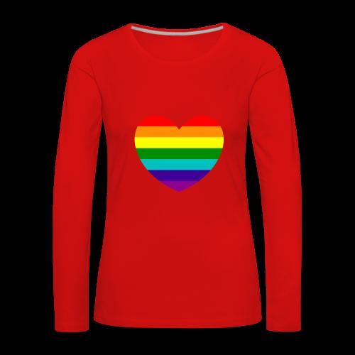 Hart in regenboog kleuren - Vrouwen Premium shirt met lange mouwen