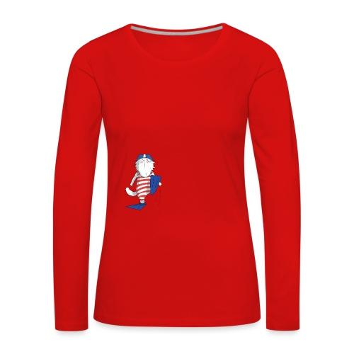 Mrou le chat Swimming Cat - T-shirt manches longues Premium Femme