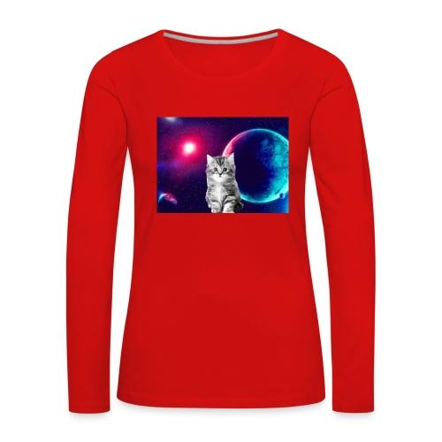 Cute cat in space - Naisten premium pitkähihainen t-paita