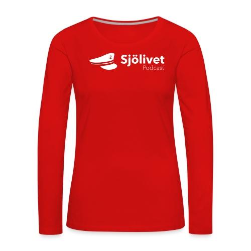 Sjölivet podcast - Vit logotyp - Långärmad premium-T-shirt dam