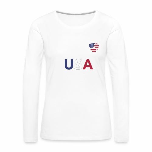 NEM USA white - Maglietta Premium a manica lunga da donna